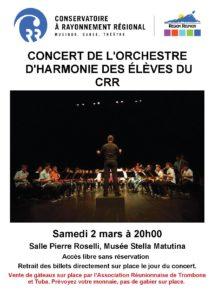 Concert de l'orchestre d'harmonie du CRR @ Salle Pierre Roselli, Musée Stella Matutina, St Leu